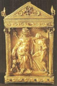 Дионис с пантерой и сатиром. Фессалия. Золото, поздний эллинизм