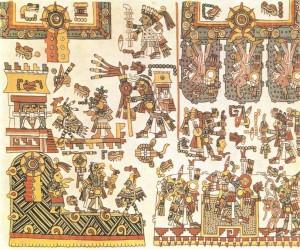 Фрагмент из рисуночного «Кодекса Нутталь». Культура миштеков. 13-15 вв.
