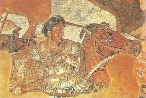 Фрагмент мозаики Битва при Иссе Александра с Дарием. 4 век до н.э.