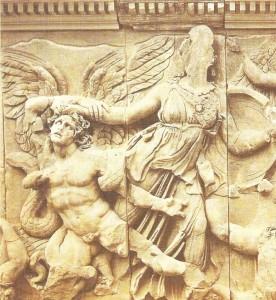 Часть фриза алтаря Зевса в Пергаме. 180 г. до н.э.