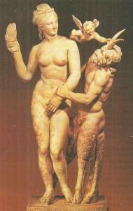 Афродита, Эрот и Пан. Скульптурная группа с о-ва Делос. 100 г. до н.э.