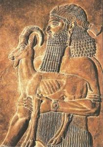 Человек с козленком. Из дворца Саргона II
