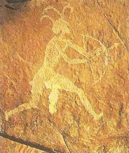 Изображение лучника. Наскальная живопись. Африка
