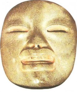 """Нефритовая антропоморфная маска. Кудьтура """"ольмеков"""". 1 тыс до н.э."""