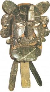 Маска божества в виде летучей мыши.Нефрит. Культура сапотеков. 1 тыс.
