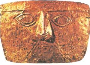Зотлотая маска. Культура инков. 13-15 века
