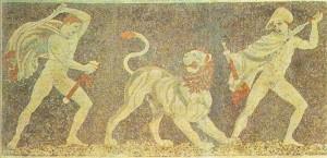 Охота на львов. Мозаика. Пелла (Македония). 300 г. до н.э.