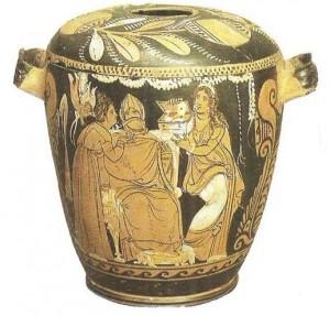 Краснофигурная пиксида с изображением мистерий. Сицилия. 330-320 гг. до н.э.