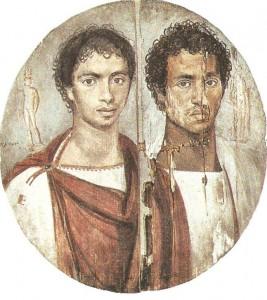 Портрет двух братьев. Дерево, энкаустика. Фаюм 1 век н.э.