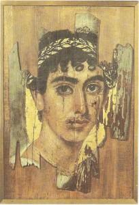 Портрет юноши в золотом венке. Дерево, энкаустика, темпера. Фаюм 2 век н.э.