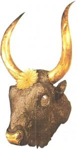 Серебрянный ритон в виде бычьей головы из Микен. 16 век до н.э.
