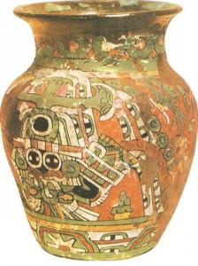 Сосуд с фресковой полихромной росписью. Культура Теотихуакана. 1 тыс н.э.