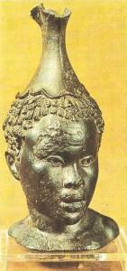 Бронзовый сосуд в форме головы негра. 100 г. до н.э. Эллинизм