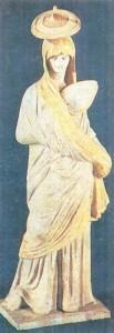 Женщина с опахалом. Танагрская статуэтка. Терракота. 4 век до н.э.