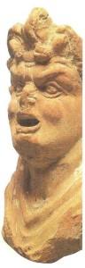 Верхняя часть статуэтки актера в трагической маске. Терракота. 2-1 века до н.э.