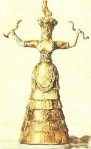 Статуэтка богини со змеями из Кносского дворца. 17 век до н.э. Архаическая Греция.