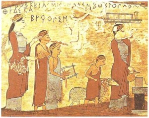 Вотивная табличка со сценой жертвоприношения. Живопись по дереву. 540 г. до н.э.
