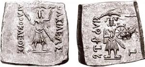 Монета Агафокла. Индийский вариант. Греко-бактрия
