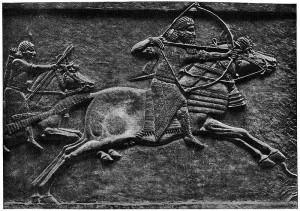 Скачущий Ашшурбанипал на охоте. Рельефная резьба из северного дворца в Ниневии, около 640 г. до н.э.