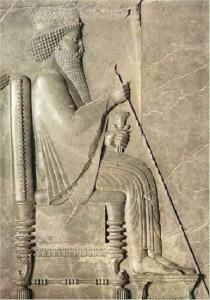 Дарий I. Барельеф с северной стороны дворца в Персеполе.