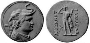 Монета Деметрия I. Индо-греки