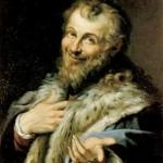 Демокрит, работа Агостина Карраччи (1557-1602). Холст, масло. Размеры 88,5х66. Национальные музей и галерея Каподимонте, Наполи, Италия.