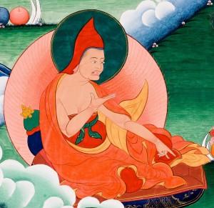 Индийский философ Дигнага. Деталь танки, изображающего 19 мастеров из храма Центрального Тибета.