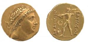 Золотая монета Диодота I. Греко-Бактрия
