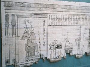 «Книга мертвых» на листе папируса, изображающая Осириса. Хранится в Египетском музее, Каир, Египет.