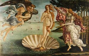 Рождение Венеры, работы Сандро Боттичелли 1483-1485 гг.. Темпера на дереве., Высота 172,5 см., длина 278,5 см. Находиться в галерея Уффици во Фроленции. Одно из первых со времён античности изображений обнажённого женского тела.