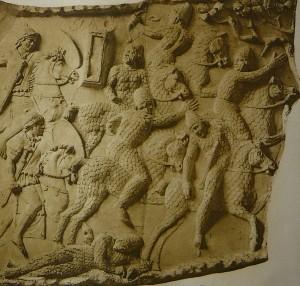 Барильеф с колонны Траяна. 113 г. н.э. Деталь пластины XXVIII, сцены XXXVII: кавалерийская борьба с сарматами— сарматская тяжелая кавалерия спасается от римских всадников. Берлин.