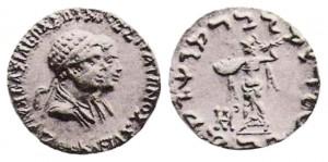 Монета Стратона I и Агафоклеи. Индо-греки