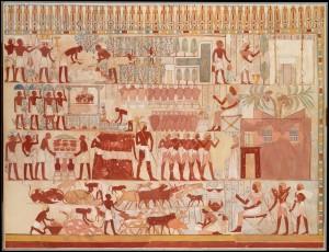 Факсимиле с фрески, из гробницы Небаму (район Фив), изображающая частное хозяйство