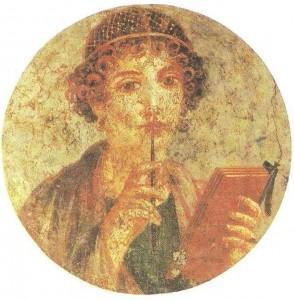 Задумавшаяся девушка (Сапфо). Фреска из Помпей. 1 век до н.э.