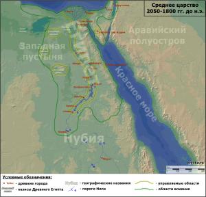 Карта Древнего Египта периода Среднего царства