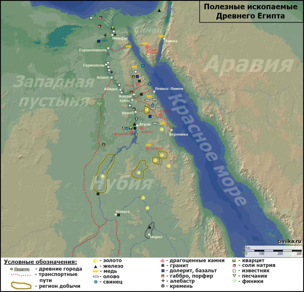 Карта полезных ископаемых Древнего Египта