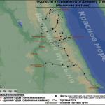 Карта торговых путей и форпостов Древнего Египта
