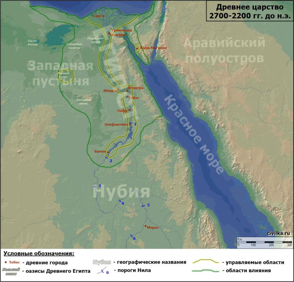 Карта Египта, периода Древнего царства