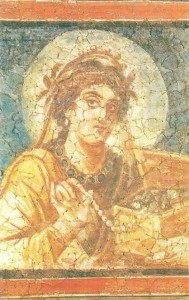 Женщина с ларчиком драгоченностей. Фрагмент фрески. 4 век. Древний Рим