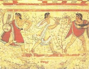 Фреска из этрусского некрополя. 5 век до н.э.