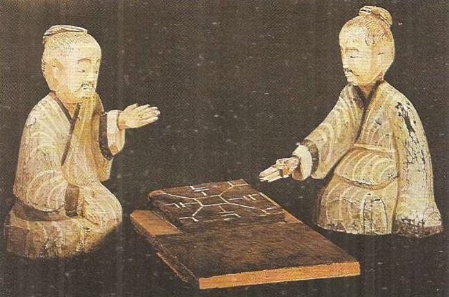 Цивилизация Древнего Китая Империи Цинь и Хань  Древний Китай Игроки в фишки Деревянная скульптура Ганьсу Эпоха Хань