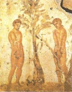 Адам и Ева. Римские катакомбы. 3 век