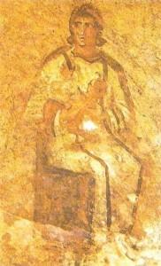 Богоматерь с младенцем. Римские катакомбы. 3 век