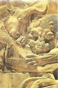 Лев, терзающий быка. Дворцовая лестница. Персеполь. 5 век до н.э.