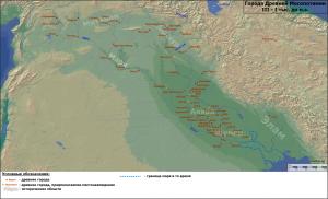 Карта городов древнего Междуречья