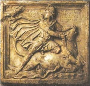 """""""Рельеф с изображением Митры, закалывающего быка. Мрамор. 2-3 века н.э."""