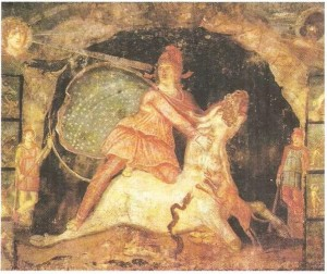 Митра, убивающий быка. Роспись митреума в Марино. 2 век н.э.