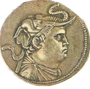 Монета с портретом Деметрия. 2 век до н.э. Средняя Азия