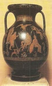 Краснофигурная пелика с изображением суда Париса. 4 век до н.э.