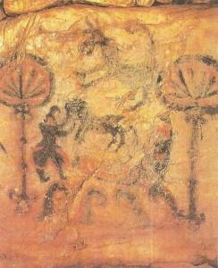 Стенная роспись гробницы. 5-6 века. Япония